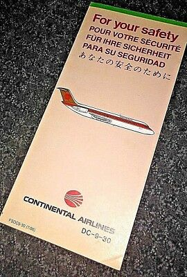 Continental Airlines Safety Card DC-9-30 1986 Authentic Near Mint