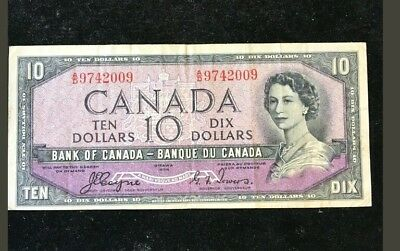 1954 $10 bank note DEVILS FACE BANK OF CANADA signed by  COYNE/TOWERS