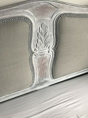 Vintage Shabby Chic King Size French Bed with Base and Slats Reupholstered