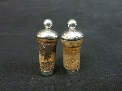 Two Antique Victorian Solid Sterling Silver Bottle Stoppers Sheffield Hallmarked