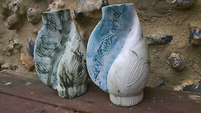 """Carn Pottery Cornwall - Pair Of Large W25 """"melon Shell"""" Vases"""