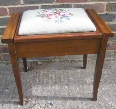 Antique Oak Music Piano Stool With Tapestry Seat And Storage
