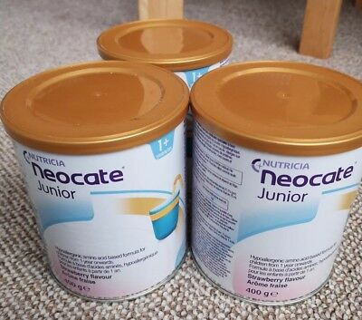 3 x 400g Nutricia Neocate Junior 1+ Hypoallergenic CMPA Milk Formula Strawberry