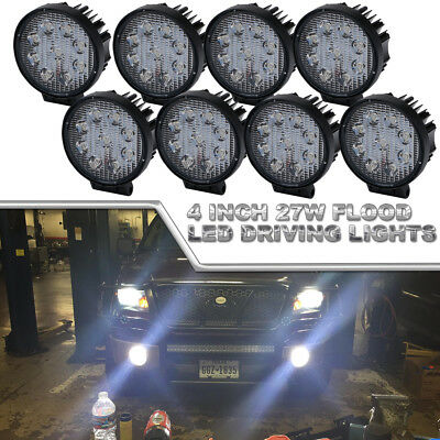 8x4Inch LED Light Bar 27W Flood PODS OFFROAD Lamp For SUV 4WD ATV Boat Chevrolet