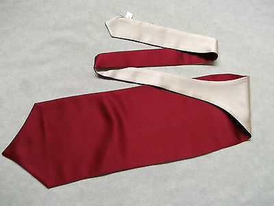 Ascot Cravat MENS Wedding Scrunchie Ruche One Size CLARET RED & CREAM