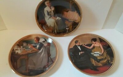 Norman rockwell plates set  3 reminiscing quiet flirting working in the kitchen