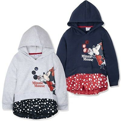 Disney Minnie Mouse Girls Hoodie Warm Hooded Fleece Jumper Dots Sequin 2-8 Yrs