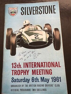 1961  Silverstone Grand Prix Programme Hand Signed By Sir Stirling Moss -COA