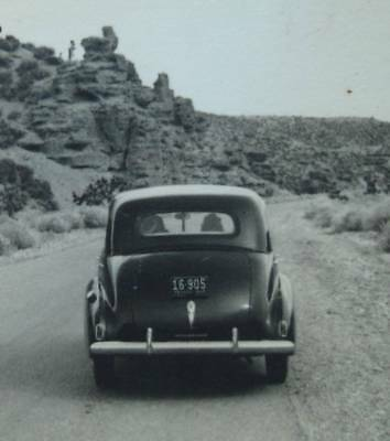 old 1940s rear view STUDEBAKER MidCentury car NEVADA snapshot photo automobile