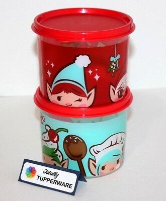 Tupperware Canisters Christmas Elf Set of 2 Stacking Seasonal Containers Red