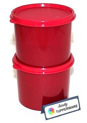 Tupperware Canisters Stacking Set of 2 Glittery 2.5 Cup Lunch Bowls Sparkle Red