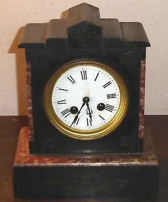 Antique French marble-cased mantel clock, spares or repairs