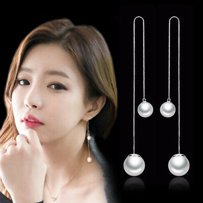 925 Sterling Silver Double Pearl Tassel Earrings For OL Fashion Women Jewelry