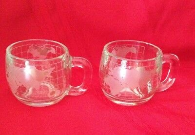 2 Vintage Nestle World Globe Atlas Frosted Etched Glass Coffee Tea Mugs 8 Oz