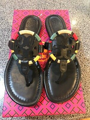288328ac4d94fd NIB Womens Tory Burch Miller Embroidered Sandal in Black Thong Flip flop  Size 7