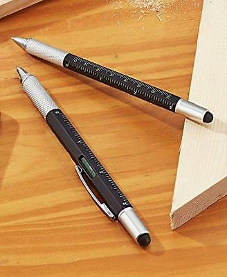 Set of 2 Ink and Stylus Pens with Ruler Screwdrivers Multi Function Desk Gifts