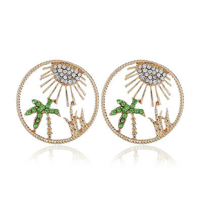 Womens Big Round Alloy Stud Earring Hollow Anti Creative Allergy Flower Plant