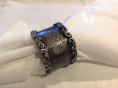 Vintage Antique Silver Metal Etched Napkin Ring Art Nouveau