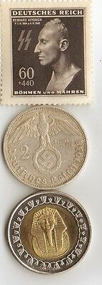 "-*WWII - *german  coin / stamp with *egyp. ""king  TUT coin"