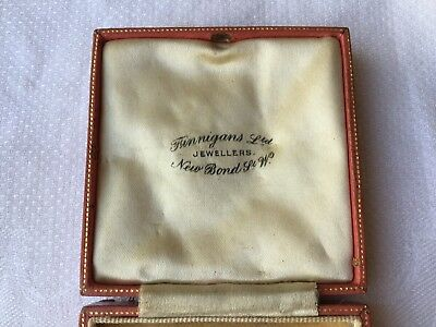ANTIQUE VINTAGE FINNEGANS PINK LEATHER JEWELLERY BOX CASE 1920s BROOCH/PINS/LINK