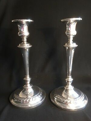 Superb Pair Of Sterling Silver Weighted  11 Inch Candlesticks