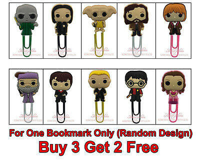 BUY 3 GET 2 FREE Harry Potter 60mm Plastic Paper Clip Bookmark Gift for Her Him