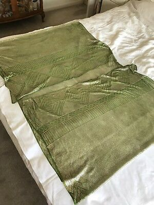Authentic Art Deco 1920s Assuit Hammered Metal Tulle Shawl Green/Silver