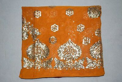 """Rare Exotic Indian Wedding Dupatta Scarf Sequins Embroidery Georgette Veil L"""""""