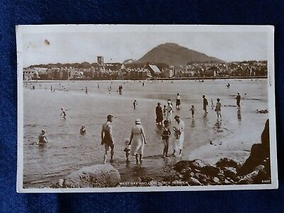 Vintage Post card Scotland West Bay & Law North Berwick bathing A1497