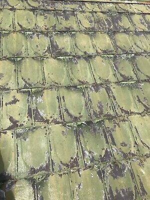 "VINTAGE ANTIQUE ROOFING TIN SHINGLEs SHIELD EMBOSSED 13 1/2"" X 9 1/2"""