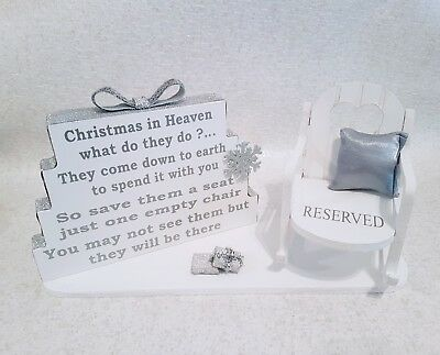 Christmas In Heaven Empty Chair Remembrance Ornament Decoration