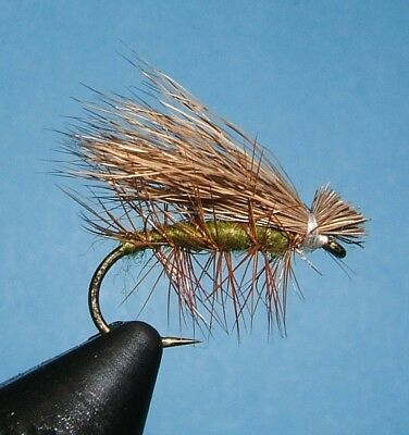 Olive Elk Hair Caddis Dry Fly Fishing Flies Choice of Quantity and Hook Size