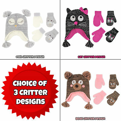 ABG Accessories Critter Hat and 2 Pair Mittens Set, Toddler Girls, Age 2-4