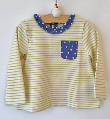Ex baby Boden girls yellow striped blue spotty top 3-6 6-12 12-18 18-24 m