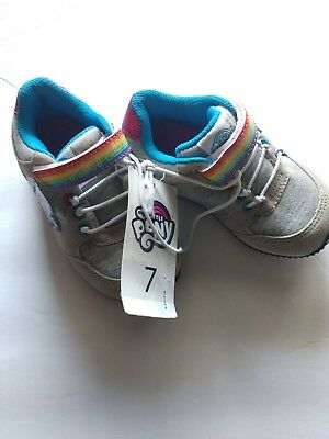 My Little Pony Toddler Girls' Grey Sparkly Pink Blue Wh Athletic Sneakers Size 7