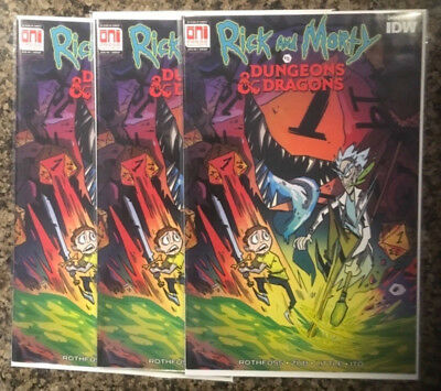 3 copies NM+ Rick And Morty Vs Dungeons And Dragons #1 Variant PAX Excl Cormack