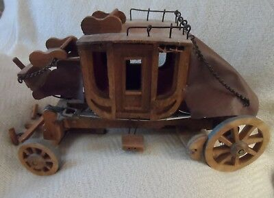 Wooden display assembled stagecoach 12""