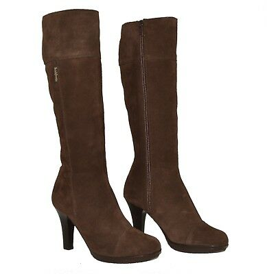 Brand New RUSSELL & BROMLEY EU 37 UK 4 Brown Suede Platform Knee Length Boots