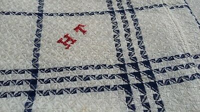 2x old german linen kitchen Towels / cloths with blue checkered pattern