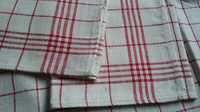 3x old unused linen kitchen Towels with red checks