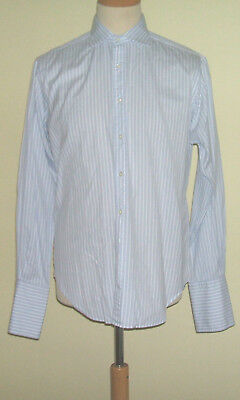 "T M Lewin Luxury 16""  Mens White Blue Stripe Shirt Double Cuff Semi Fitted"