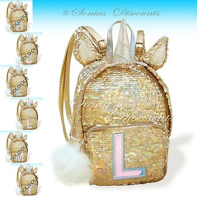 913d83bee98 NEW JUSTICE GOLD Flip Sequin Letter A Mini Unicorn Backpack NWT ...