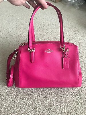 a8ff8d3a2c6e6 Coach Small Christie Carryall Satchel 36637 Leather bright pink NWT  395