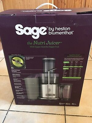 Sage By Heston Blumenthal BJE410UK The Nutri Juicer Centrifugal 1200W Brand New