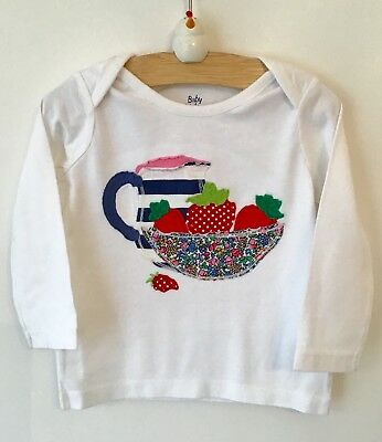 baby Boden girls white long sleeve strawberry appliqué top 0-3 3-6 12-18 18-24
