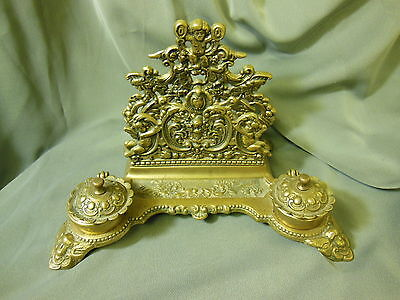 Large Ornate Solid Brass Ink Well