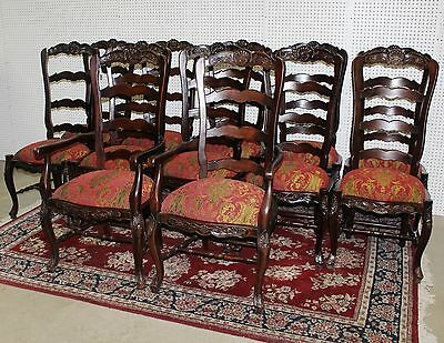 Set of Eight Antique Style Country French Ladderback Dining Chairs Louis XV