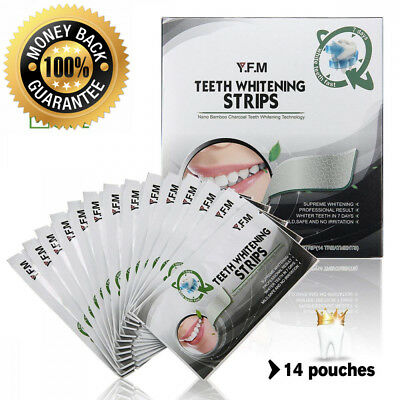 Teeth Whitening Strips Y.F.M. 28 Bright Smile White Charcoal Tooth...