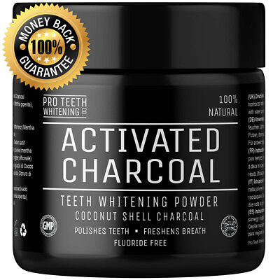 Activated Charcoal Natural Teeth Whitening Powder Peppermint Flavour by Pro...