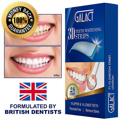 3D Teeth whitening strips by Galact -28 strips-Dental Enamel Safe Bleaching...